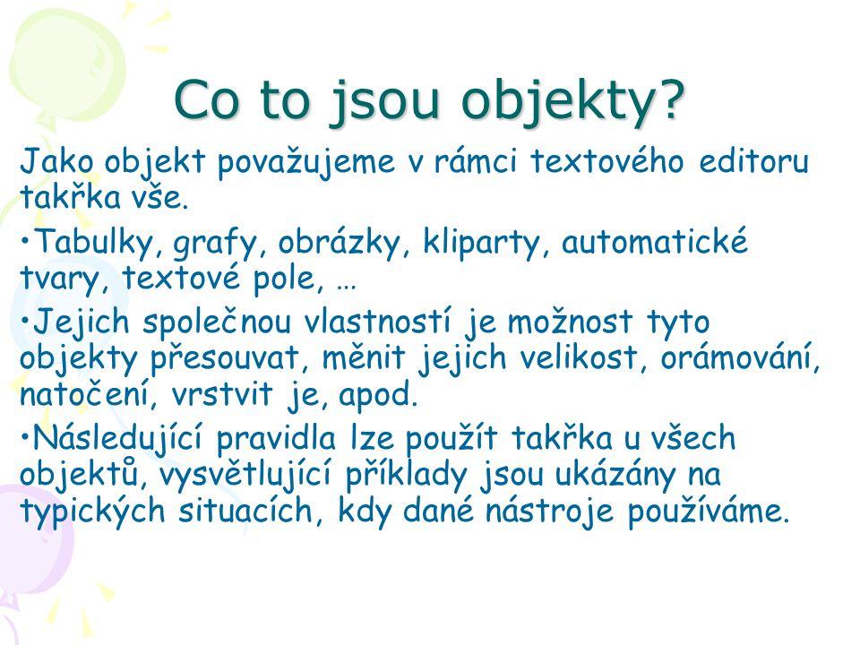 Co to jsou objekty Jako objekt považujeme v rámci textového editoru takřka vše.
