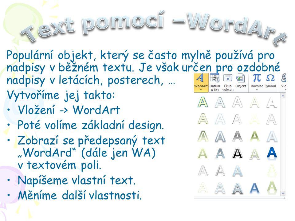 Text pomocí –WordArt