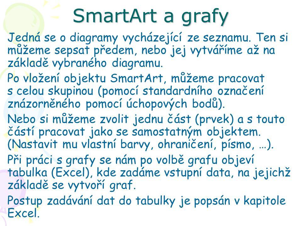 SmartArt a grafy Jedná se o diagramy vycházející ze seznamu. Ten si můžeme sepsat předem, nebo jej vytváříme až na základě vybraného diagramu.