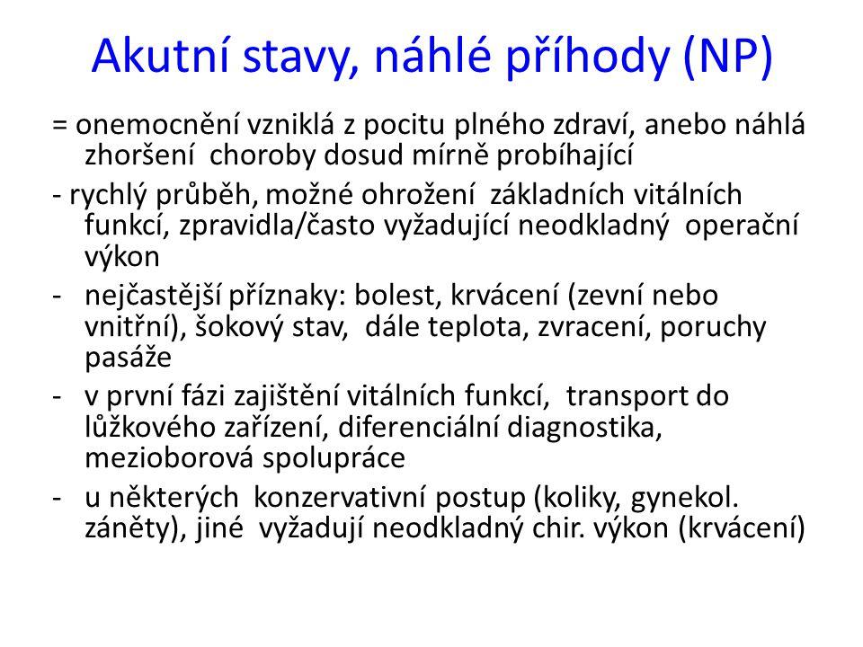 Akutní stavy, náhlé příhody (NP)