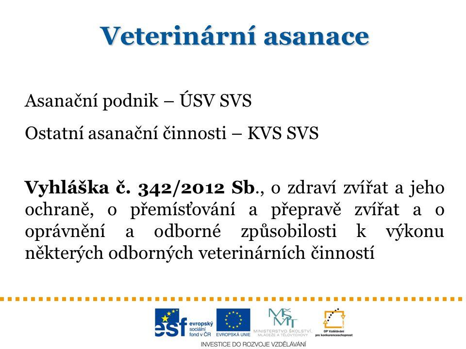 Veterinární asanace Asanační podnik – ÚSV SVS