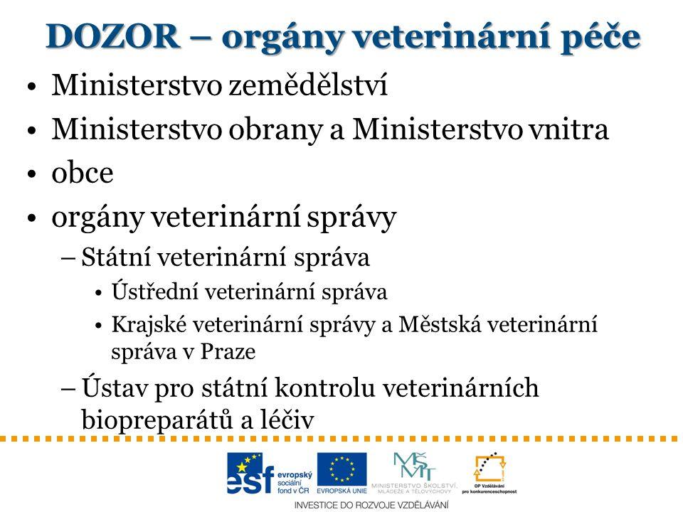 DOZOR – orgány veterinární péče
