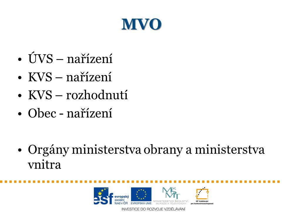 MVO ÚVS – nařízení KVS – nařízení KVS – rozhodnutí Obec - nařízení