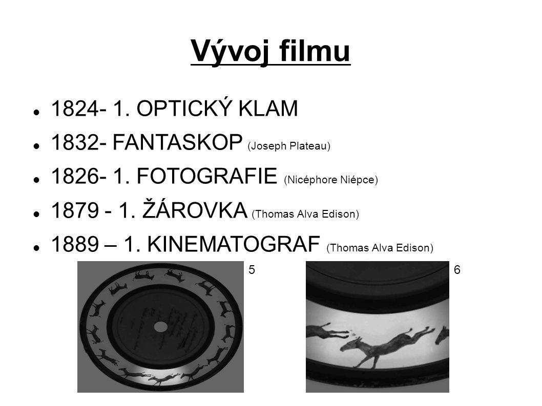 Vývoj filmu 1824- 1. OPTICKÝ KLAM 1832- FANTASKOP (Joseph Plateau)