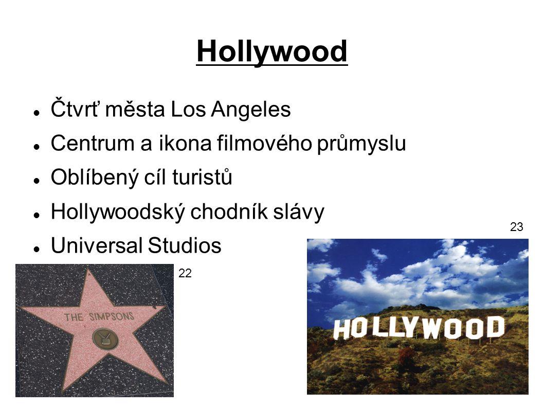 Hollywood Čtvrť města Los Angeles Centrum a ikona filmového průmyslu