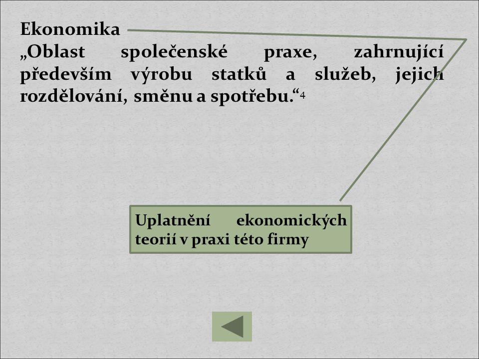 """Ekonomika """"Oblast společenské praxe, zahrnující především výrobu statků a služeb, jejich rozdělování, směnu a spotřebu. 4."""