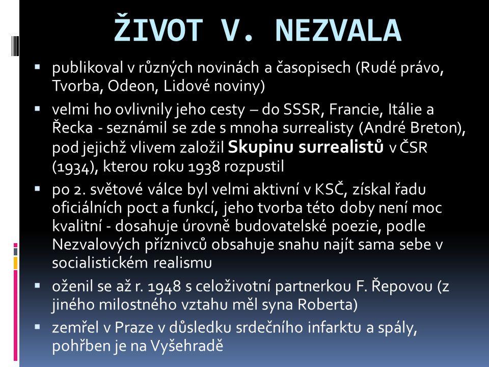 ŽIVOT V. NEZVALA publikoval v různých novinách a časopisech (Rudé právo, Tvorba, Odeon, Lidové noviny)