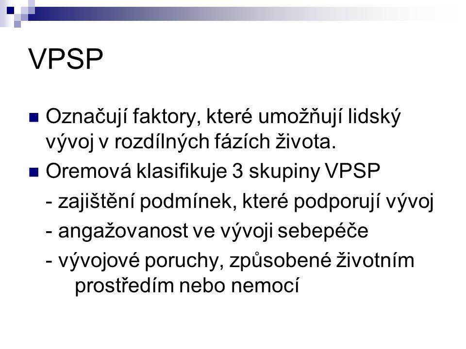 VPSP Označují faktory, které umožňují lidský vývoj v rozdílných fázích života. Oremová klasifikuje 3 skupiny VPSP.