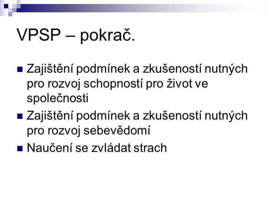 VPSP – pokrač. Zajištění podmínek a zkušeností nutných pro rozvoj schopností pro život ve společnosti.