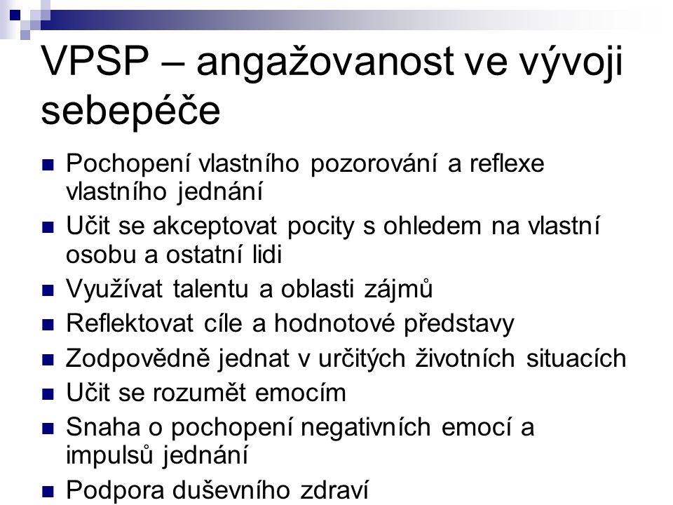 VPSP – angažovanost ve vývoji sebepéče