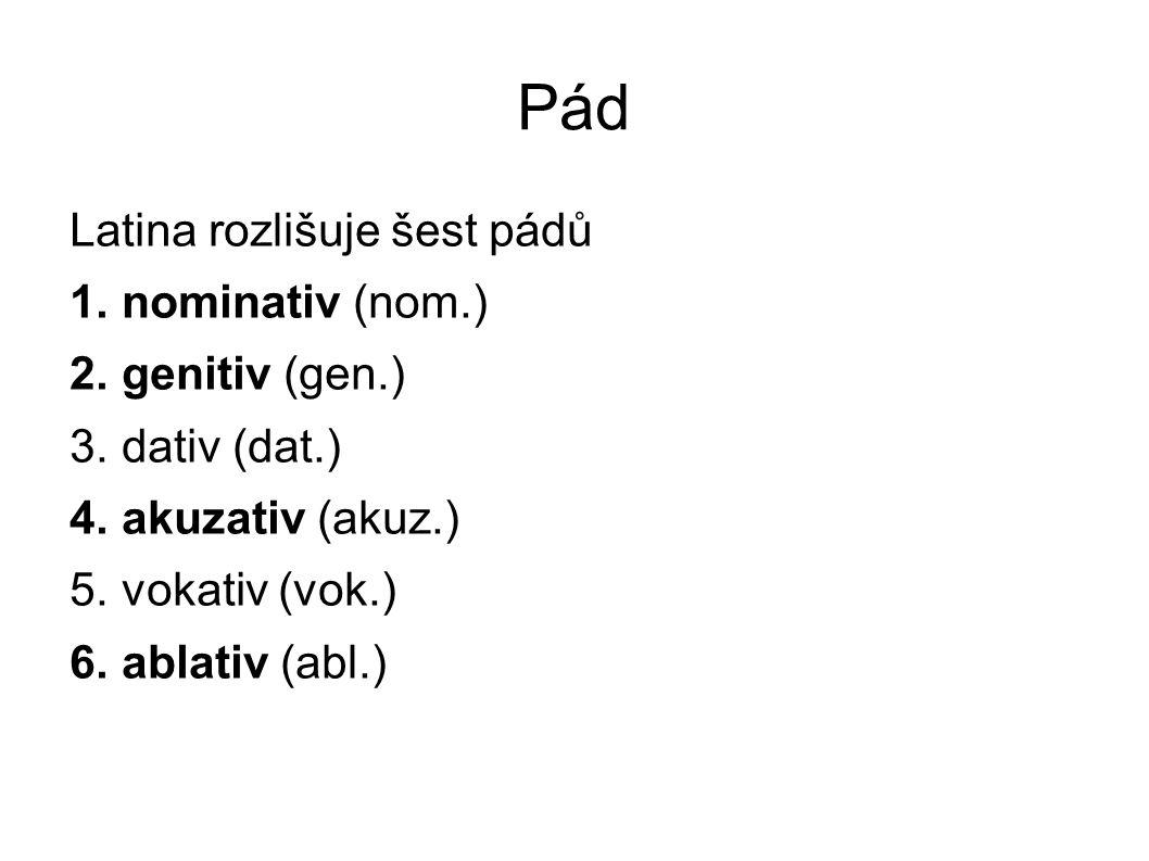 Pád Latina rozlišuje šest pádů nominativ (nom.) genitiv (gen.)