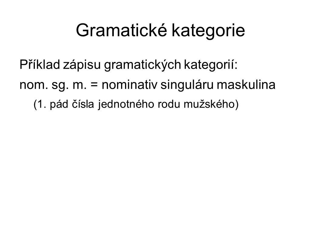 Gramatické kategorie Příklad zápisu gramatických kategorií: