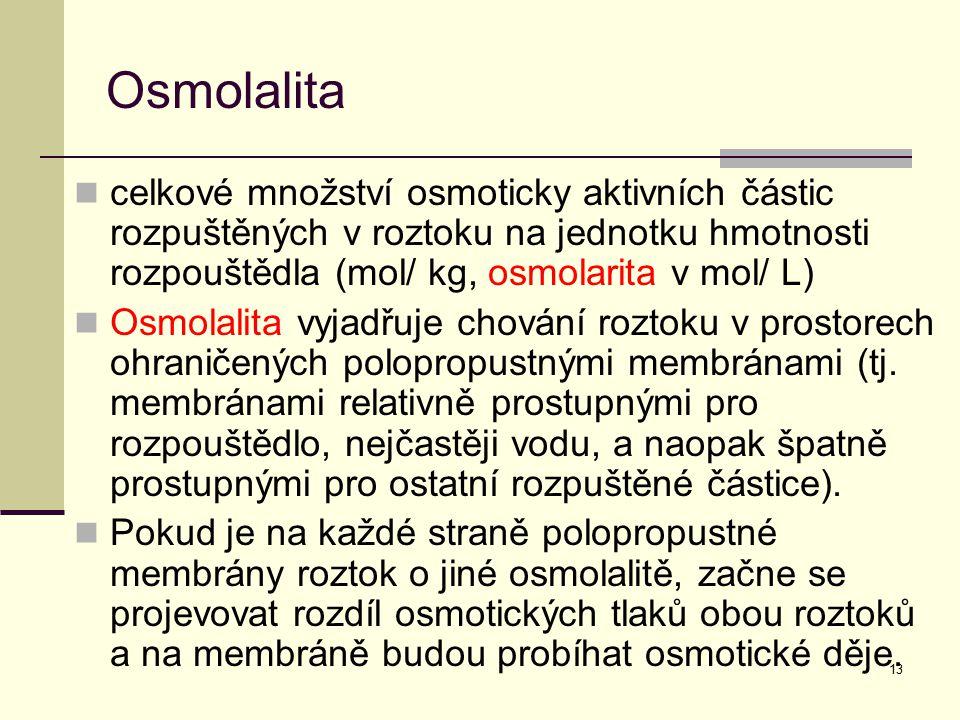 Osmolalita celkové množství osmoticky aktivních částic rozpuštěných v roztoku na jednotku hmotnosti rozpouštědla (mol/ kg, osmolarita v mol/ L)