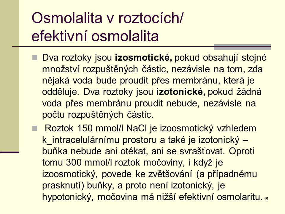Osmolalita v roztocích/ efektivní osmolalita