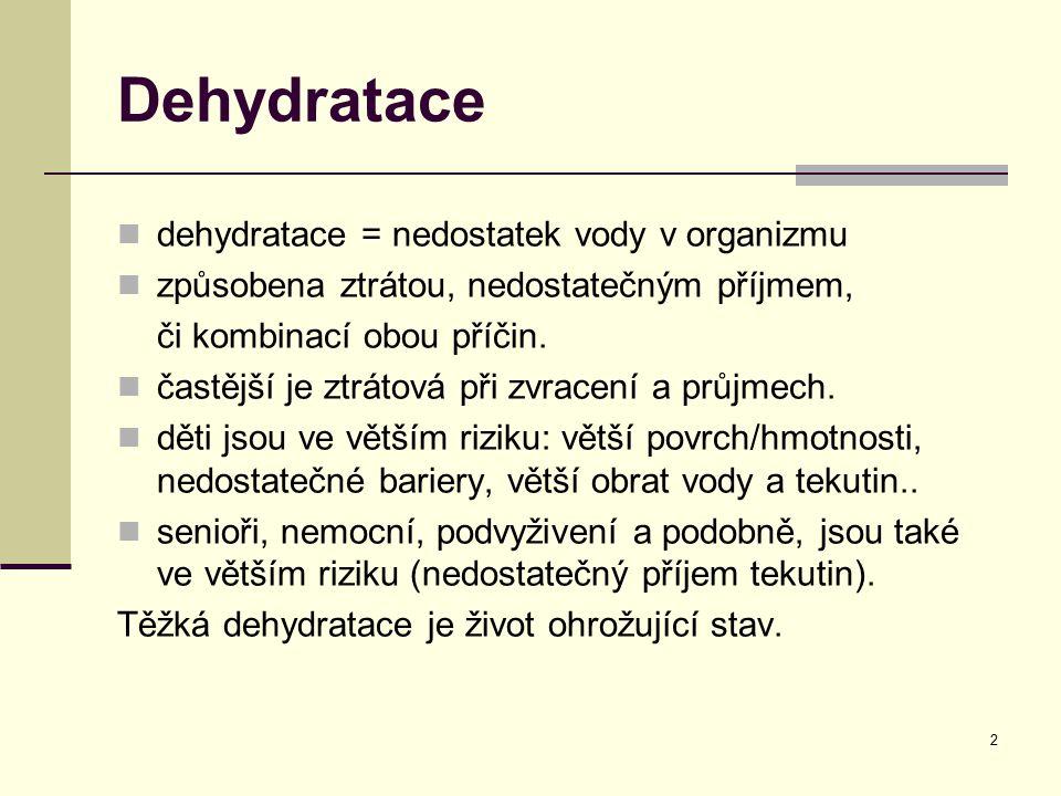 Dehydratace dehydratace = nedostatek vody v organizmu