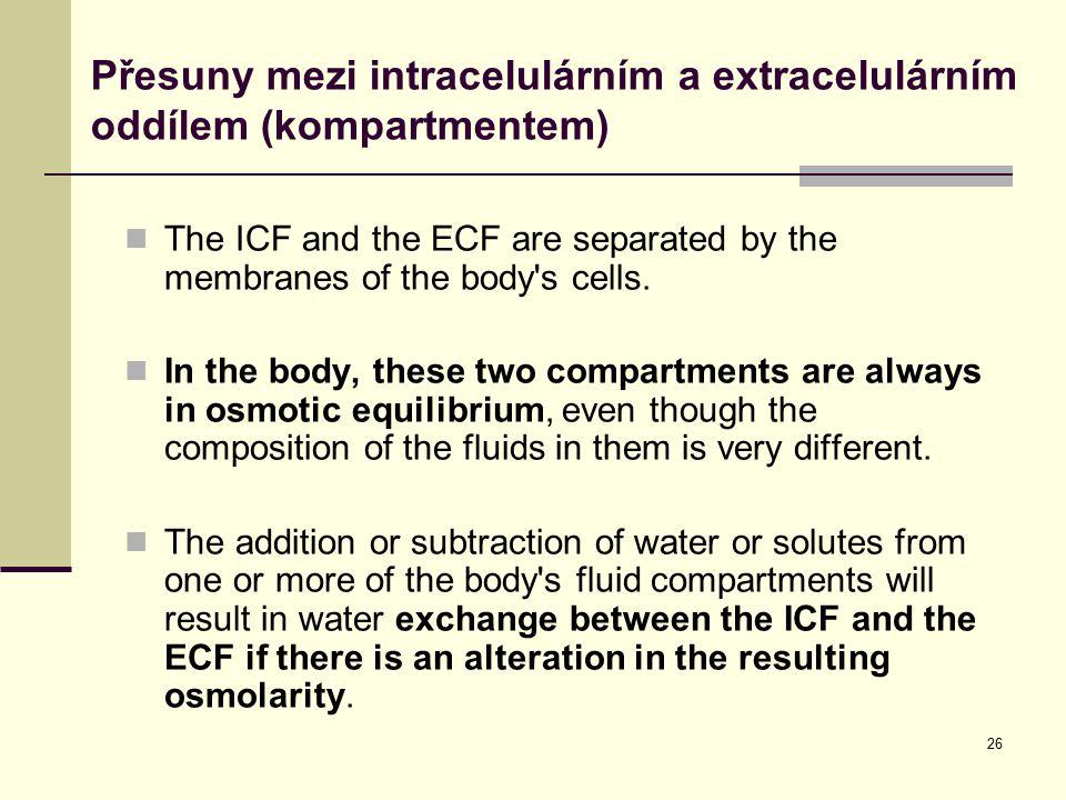 Přesuny mezi intracelulárním a extracelulárním oddílem (kompartmentem)