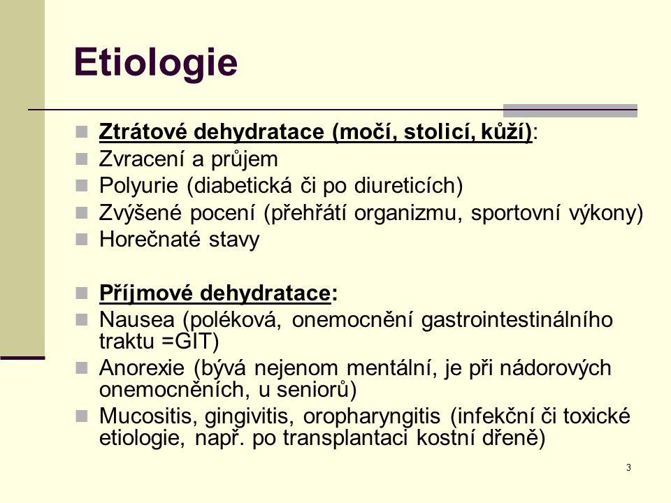 Etiologie Ztrátové dehydratace (močí, stolicí, kůží):