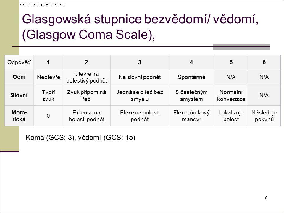 Glasgowská stupnice bezvědomí/ vědomí, (Glasgow Coma Scale),