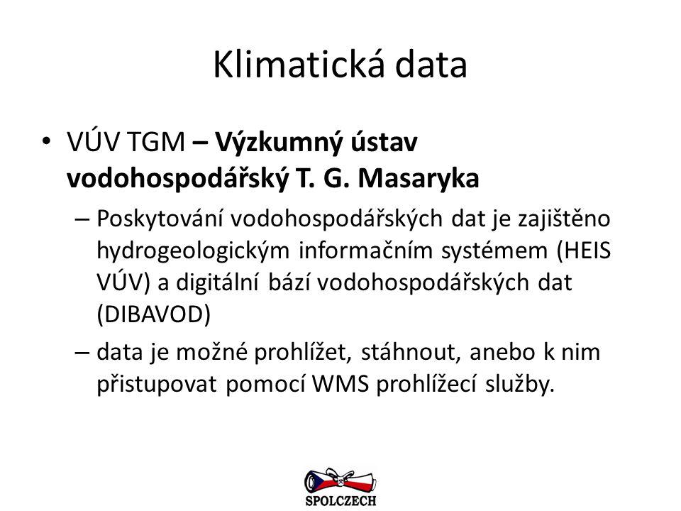 Klimatická data VÚV TGM – Výzkumný ústav vodohospodářský T. G. Masaryka.