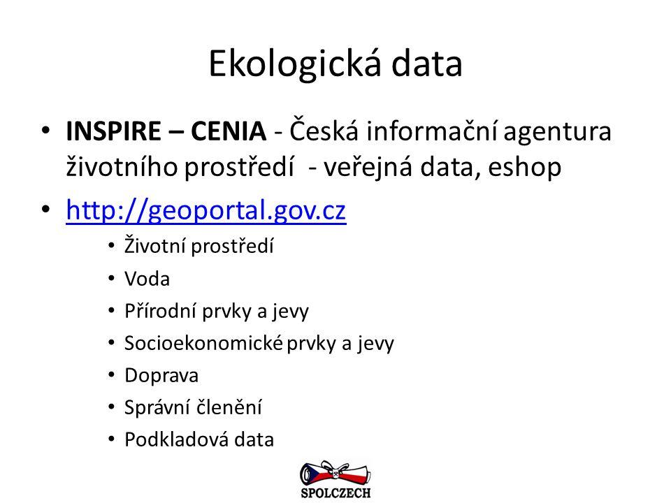 Ekologická data INSPIRE – CENIA - Česká informační agentura životního prostředí - veřejná data, eshop.