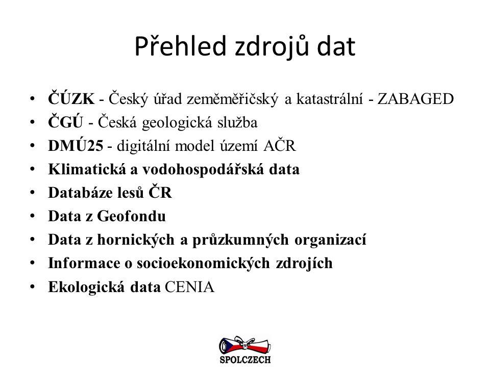 Přehled zdrojů dat ČÚZK - Český úřad zeměměřičský a katastrální - ZABAGED. ČGÚ - Česká geologická služba.