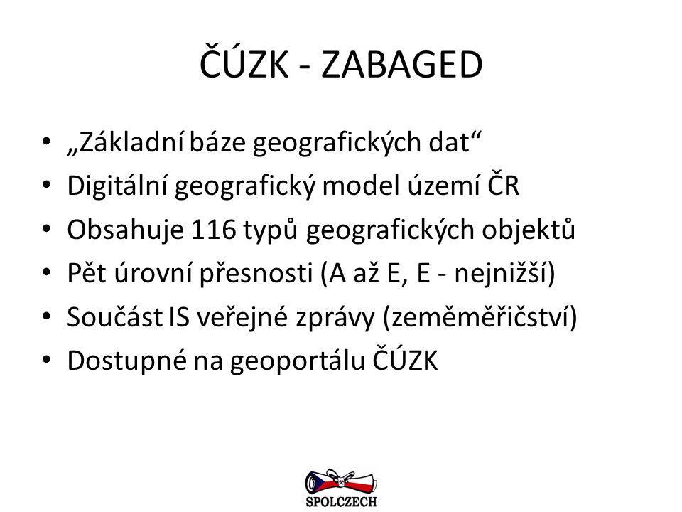 """ČÚZK - ZABAGED """"Základní báze geografických dat"""