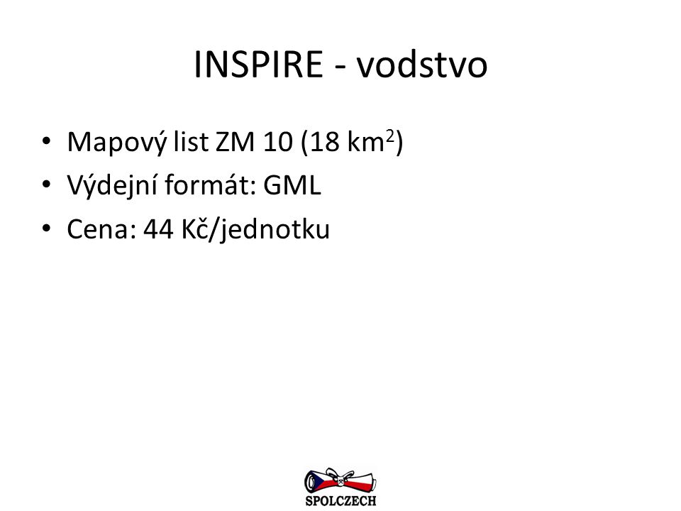 INSPIRE - vodstvo Mapový list ZM 10 (18 km2) Výdejní formát: GML