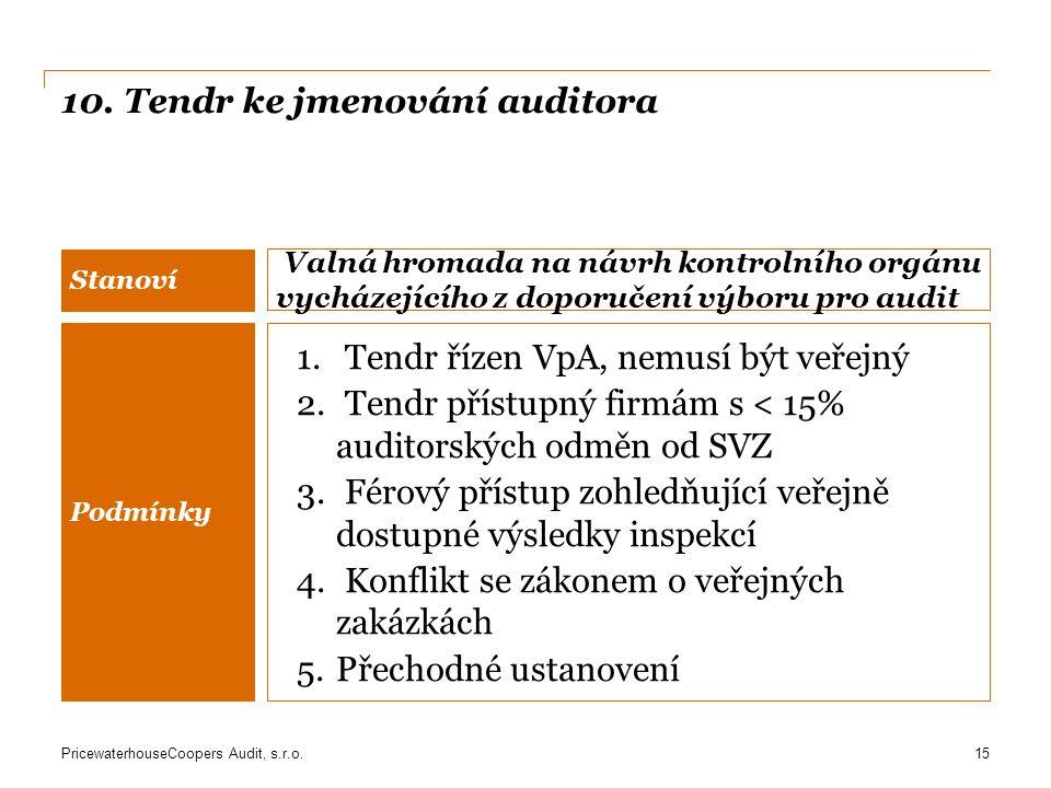 10. Tendr ke jmenování auditora