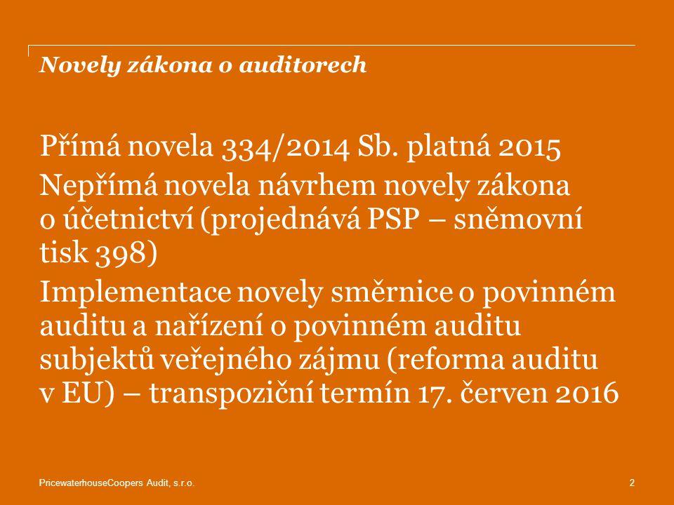 Novely zákona o auditorech