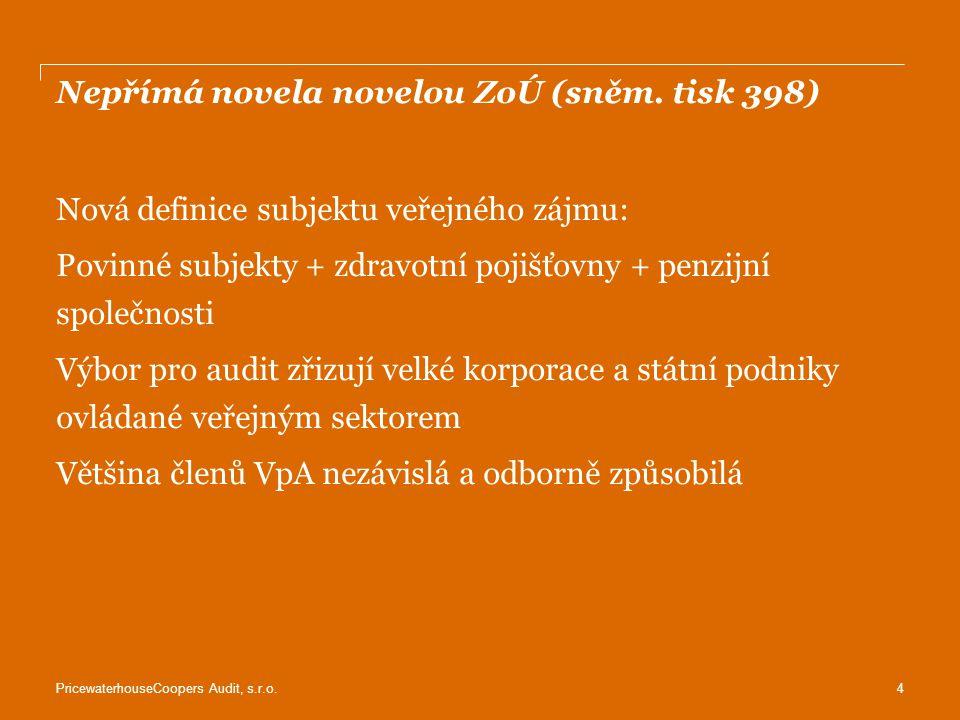 Nepřímá novela novelou ZoÚ (sněm. tisk 398)