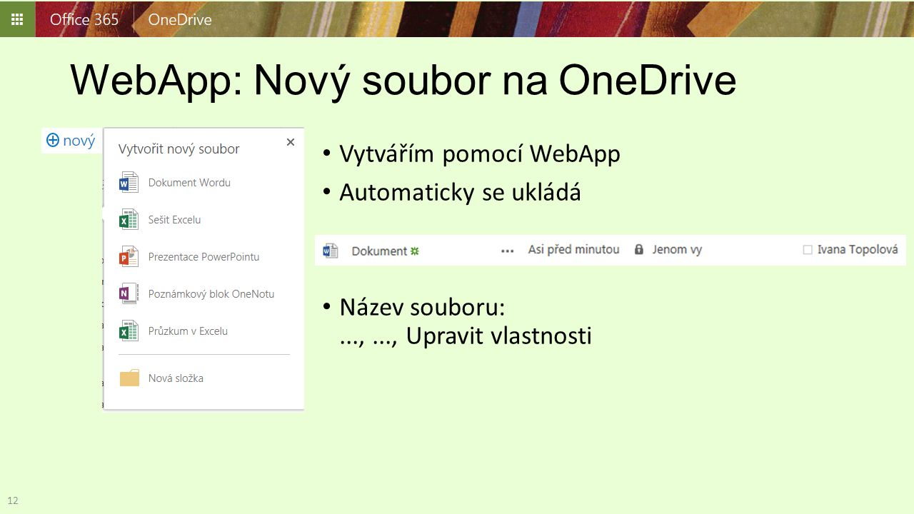 WebApp: Nový soubor na OneDrive
