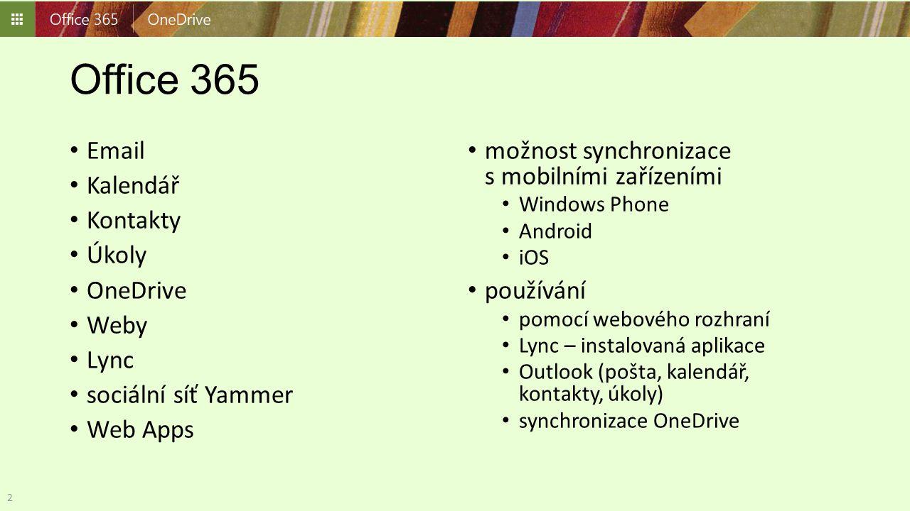 Office 365 Email Kalendář Kontakty Úkoly OneDrive Weby Lync