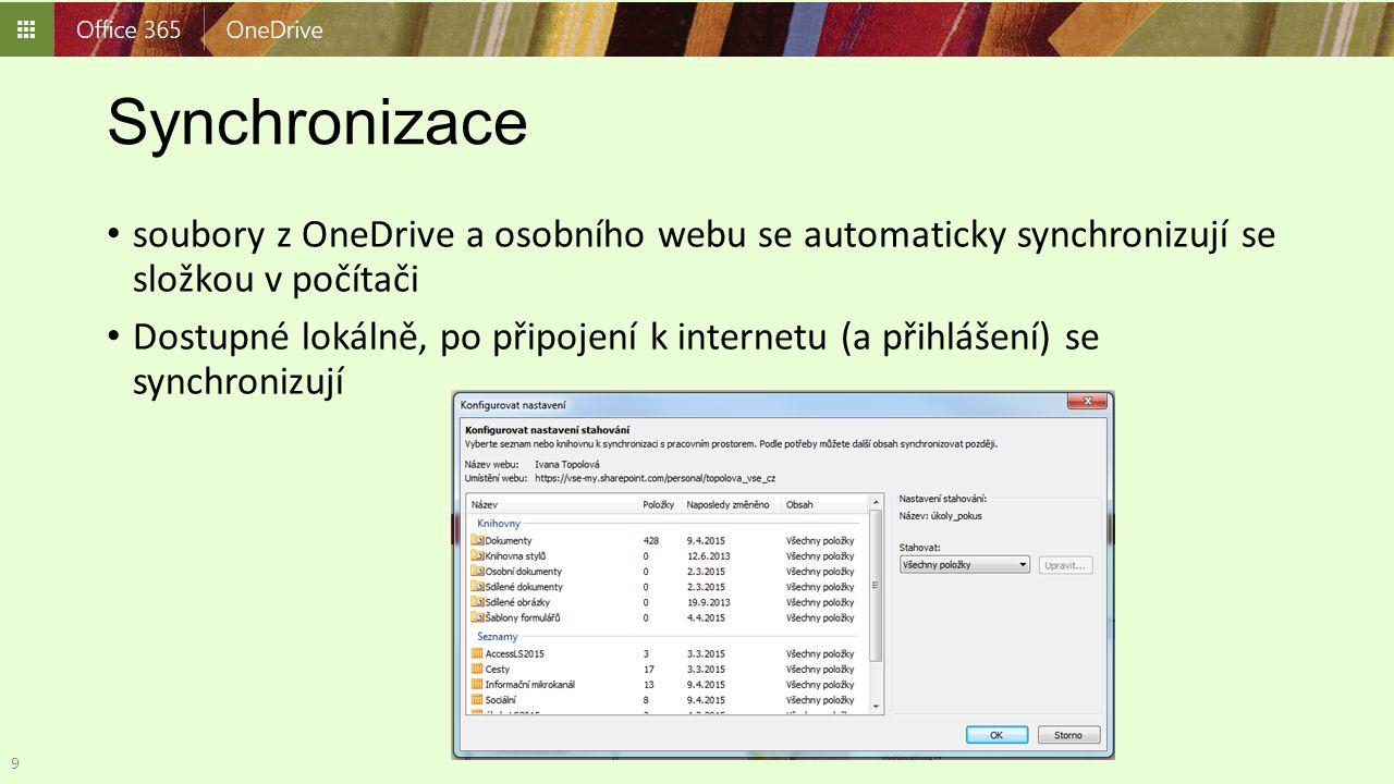 Synchronizace soubory z OneDrive a osobního webu se automaticky synchronizují se složkou v počítači.