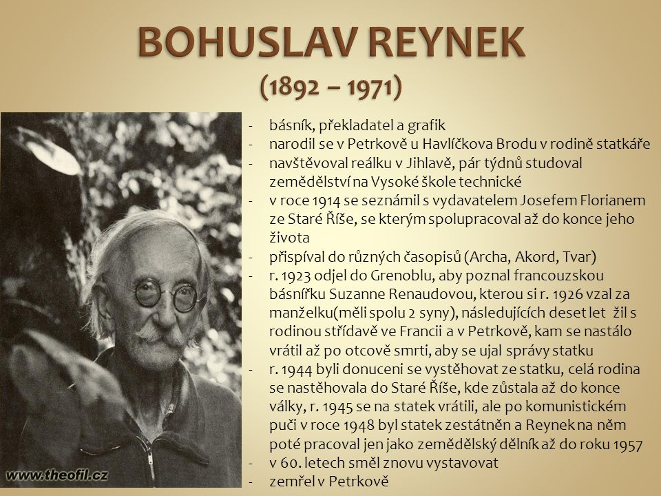 BOHUSLAV REYNEK (1892 – 1971) básník, překladatel a grafik