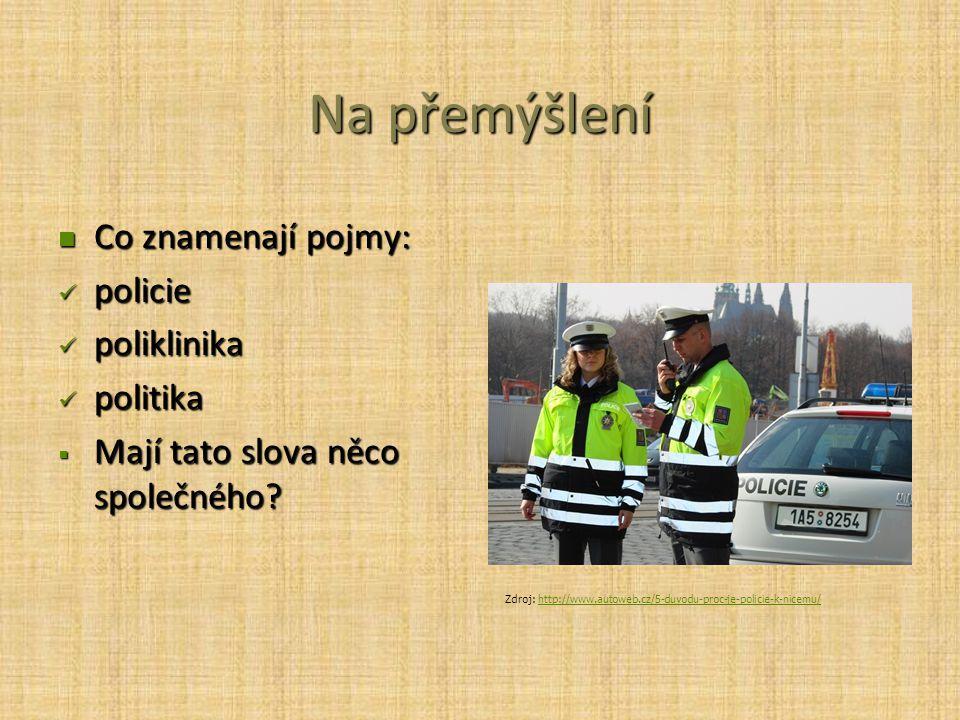 Na přemýšlení Co znamenají pojmy: policie poliklinika politika