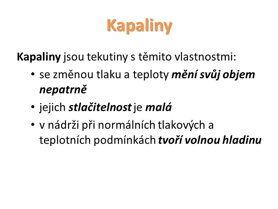 Kapaliny Kapaliny jsou tekutiny s těmito vlastnostmi: