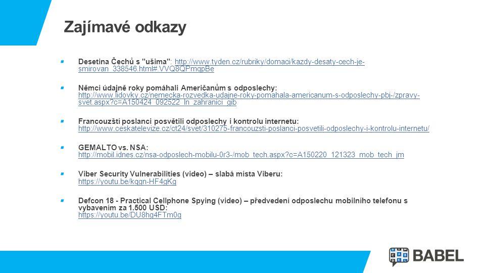 Zajímavé odkazy Desetina Čechů s ušima : http://www.tyden.cz/rubriky/domaci/kazdy-desaty-cech-je- smirovan_338546.html#.VVQ8QPmqpBe.
