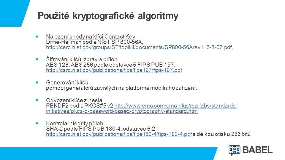 Použité kryptografické algoritmy