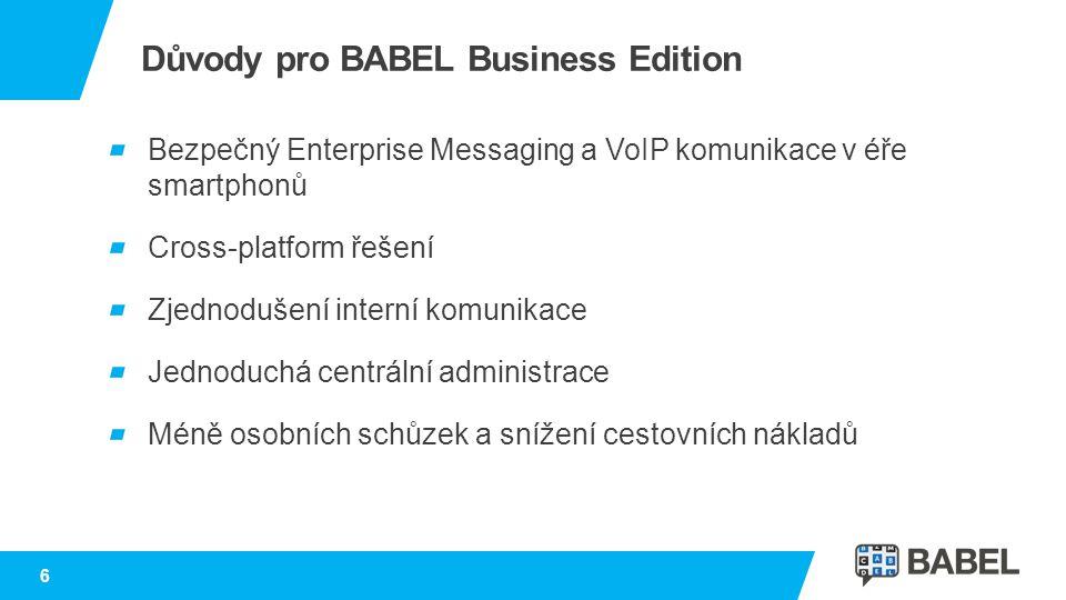 Důvody pro BABEL Business Edition
