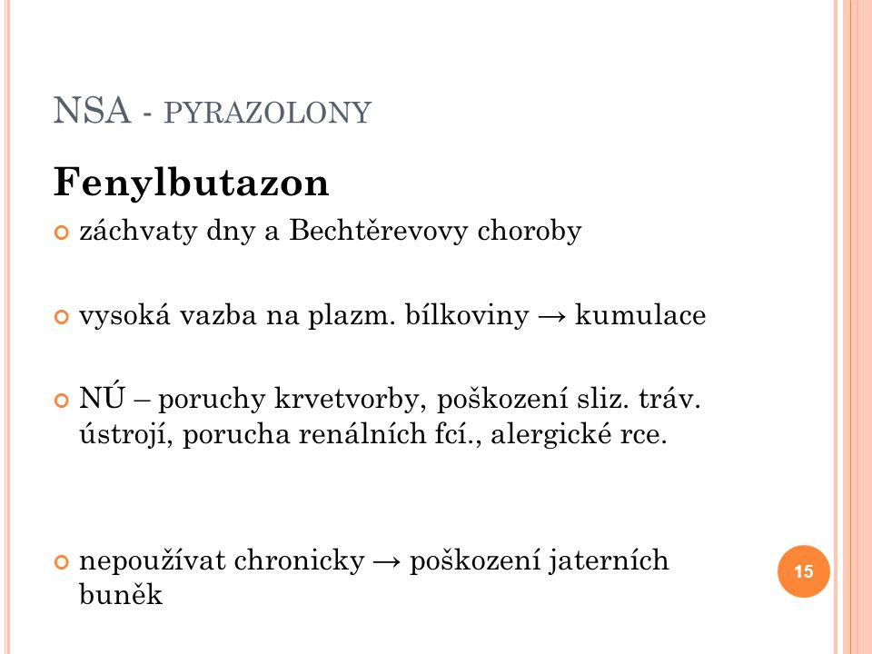Fenylbutazon NSA - pyrazolony záchvaty dny a Bechtěrevovy choroby