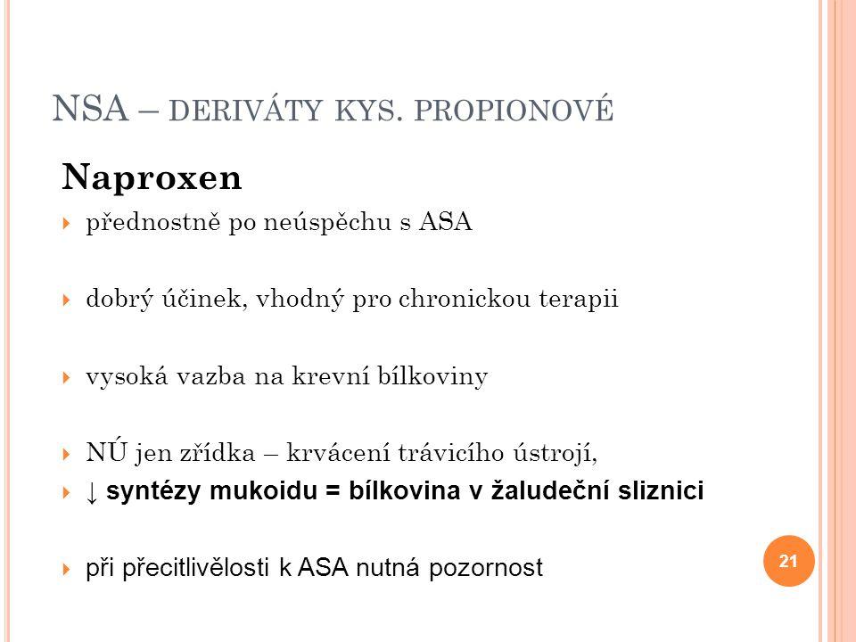 NSA – deriváty kys. propionové