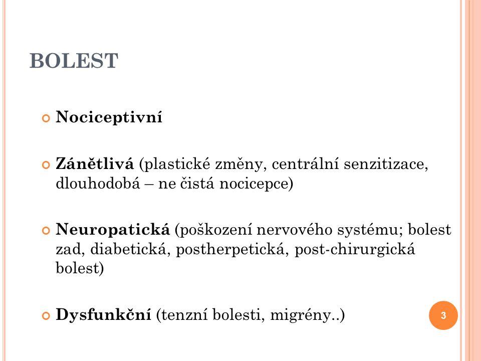 BOLEST Nociceptivní. Zánětlivá (plastické změny, centrální senzitizace, dlouhodobá – ne čistá nocicepce)