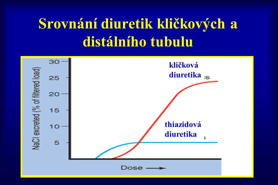 Srovnání diuretik kličkových a distálního tubulu