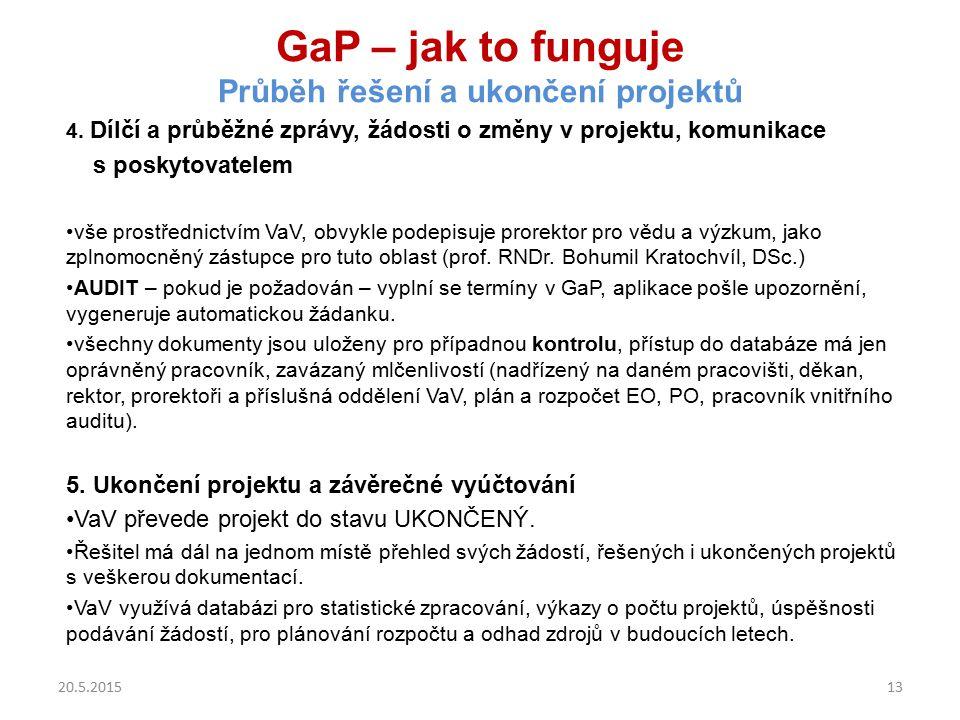 GaP – jak to funguje Průběh řešení a ukončení projektů