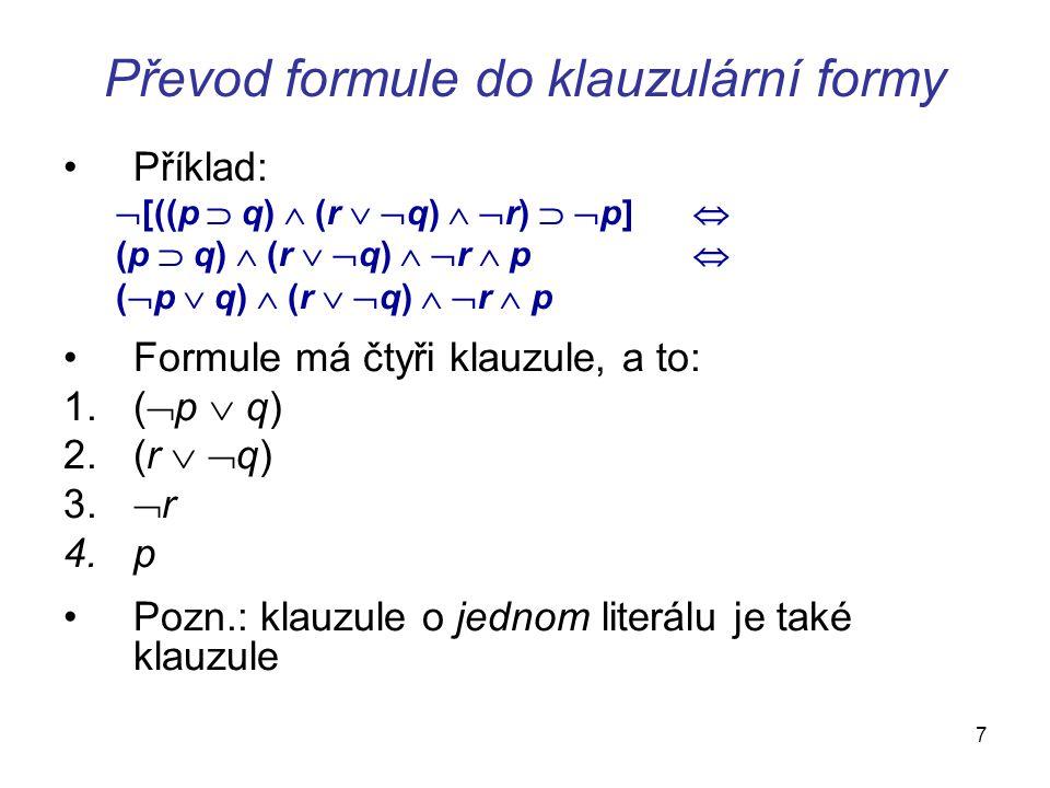 Převod formule do klauzulární formy