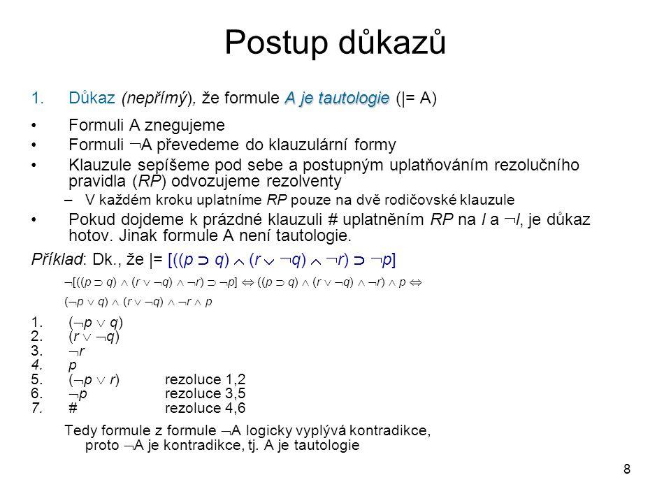 Postup důkazů Důkaz (nepřímý), že formule A je tautologie (|= A)
