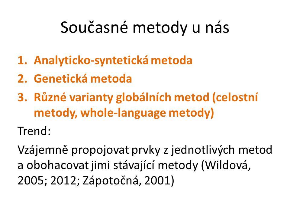 Současné metody u nás Analyticko-syntetická metoda Genetická metoda