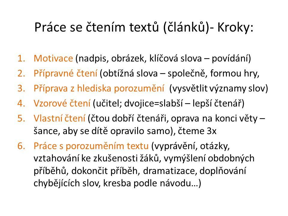 Práce se čtením textů (článků)- Kroky: