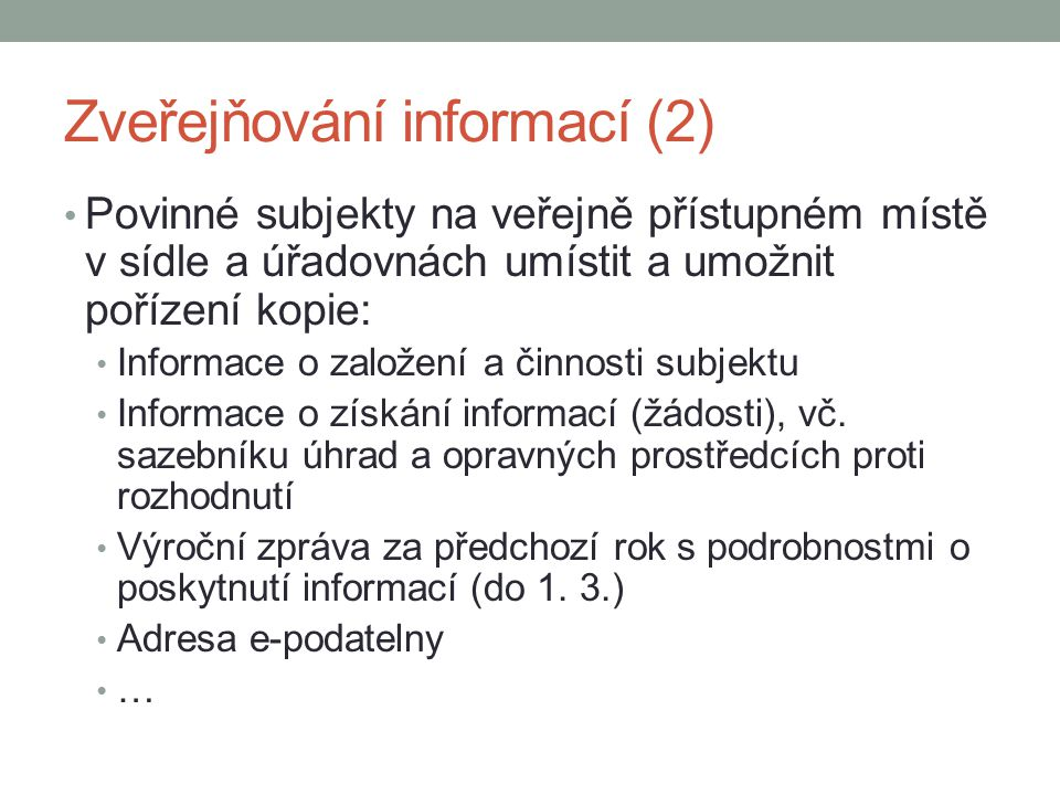 Zveřejňování informací (2)