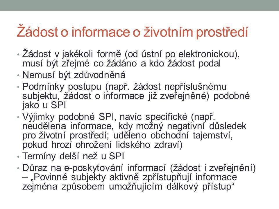 Žádost o informace o životním prostředí